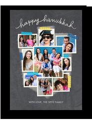 Hanukkah Photo Collage on Chalkboard 5x7 Flat Card