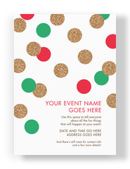 Glitter Polka Dots Invitation 5x7 Flat Card