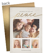 Gold Script Peace 5x7 Flat Card