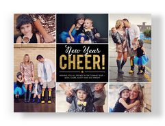 Glittery New Year Cheer 7x5 Flat Card