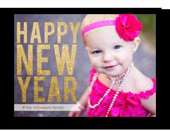 Glittery New Year Overlay 7x5 Flat Card