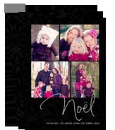 Black Floral Print Noël 5x7 Flat Card