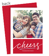 Cheers Script on Red 5x7 Flat Card