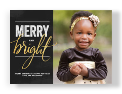 Merry and Bright on Black 7x5 Flat Card