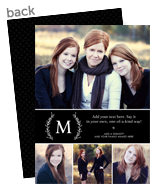 Monogram with Laurels on Black 5x7 Flat Card