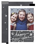 Happy New Year on Chalkboard 5x7 Flat Card