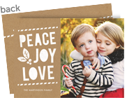 Peace Joy Love on Kraft 7x5 Flat Card