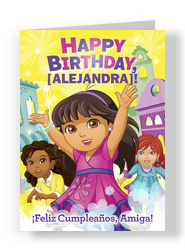 Make and send personalized birthday cards from cardstore dora birthday 5x7 folded card bookmarktalkfo Image collections