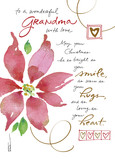 Watercolor Poinsettia - Grandma 5x7 Folded Card