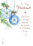 Watercolor Ornaments - Husband 5x7 Folded Card