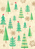 Christmas Trees with Birds 5x7 Folded Card