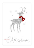 Silver Glitter Reindeer 5x7 Folded Card