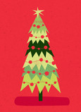 Fun, Modern Christmas Tree 5x7 Folded Card