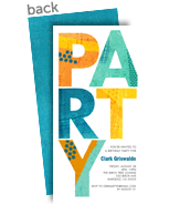 Colorful Party Pattern - Blue 4x8 Flat Card