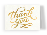 Gold Foil Thank You 5.25x3.75 Folded Card