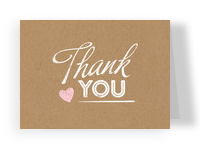 Thank You on Kraft with Heart 5.25x3.75 Folded Card