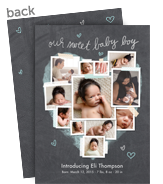 Chalkboard Photo Collage - Baby Boy 5x7 Flat Card