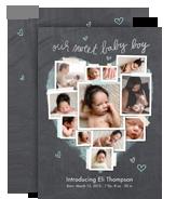 Chalkboard Photo Collage - Baby Boy 5x7 Flat Card