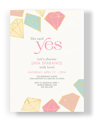 Diamond Pattern Shower Invitation 5x7 Flat Card
