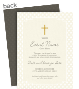 Religious Invitation - Gold Cross 5x7 Flat Card