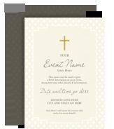 Religious Invitation - Gold Cross 5x7 Flat Card