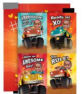 Valentine Monster Trucks 5x7 Flat Card