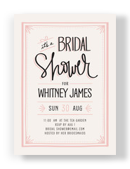Bridal Shower- Pink Border 5x7 Flat Card