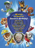 Paw Patrol Invitation 5x7 Flat Card