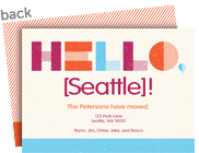 Hello, New City! Maroon and Orange 7x5 Flat Card