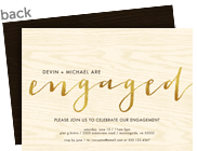 Gold Foil Cursive Engaged 7x5 Flat Card