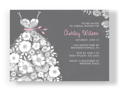 Floral Wedding Dress on Gray 7x5 Flat Card