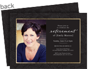 Retirement Invite - Black and Gold with Photo 7x5 Flat Card