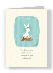 Cute Bunny on Watercolor 5x7 Folded Card