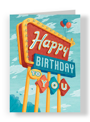 Happy Birthday in Lights 5x7 Folded Card
