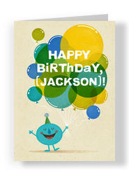 Birthday Balloons with Fun Character 5x7 Folded Card