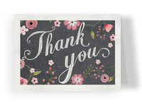 Chalkboard Thank You Floral 5.25x3.75 Folded Card