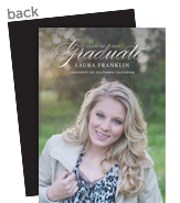 Grad Announcement - White Script Overlay 5x7 Flat Card