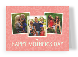 Mother's Day Photos On Pink Pattern 7x5 Folded Card