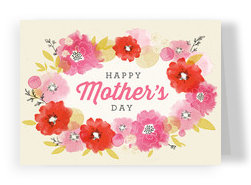 Watercolor Mothers' Day Floral 7x5 Folded Card