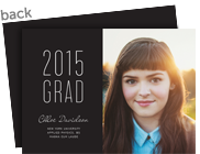 Grad Announcement - Simple On Black 7x5 Flat Card
