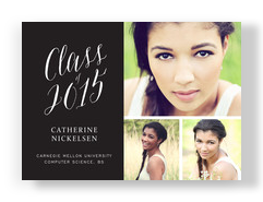 Grad Announcement - Script On Black 7x5 Flat Card