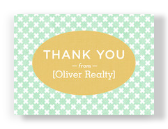Thank You on Green and White Pattern 7x5 Postcard