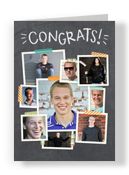 Congrats Chalkboard Photo Collage 5x7 Folded Card