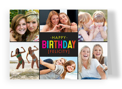 Colorful Birthday on Black 7x5 Folded Card