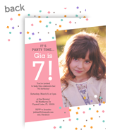 Birthday Confetti Invitation - Pink 5x7 Flat Card