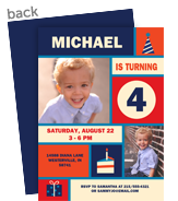 Block Design Invitation - Blue & Red 5x7 Flat Card