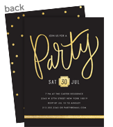 Custom birthday invitations personalize with cardstore gold script party invitation 5x7 flat card filmwisefo Gallery