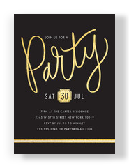 Gold Script Party Invitation 5x7 Flat Card