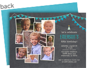 Chalkboard Party Invite - Blue & Teal 7x5 Flat Card