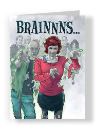 BRAINS… (Girl Zombie) 5x7 Folded Card
